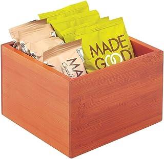 mDesign Caja de bambú de almacenaje – Organizador de cocina apilable de madera de bambú ecológica – Caja para infusiones para el armario de la cocina, los cajones o la despensa – marrón