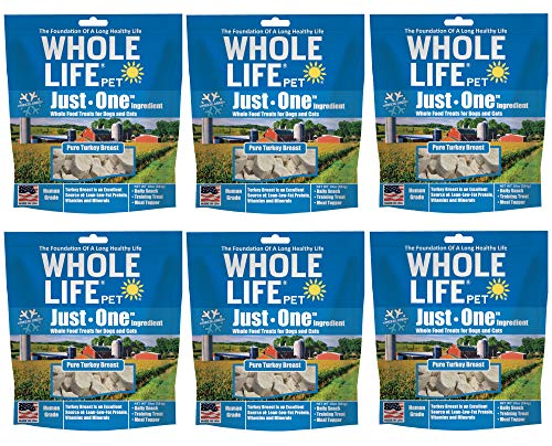 Whole Life Pet Healthy Dog and Cat Treats Value Pack, Human-Grade Whole Turkey Breast, Protein Rich for Training, Picky Eaters, Digestion, Weight Control, Made in The USA, 6 Bags of 10 Ounce