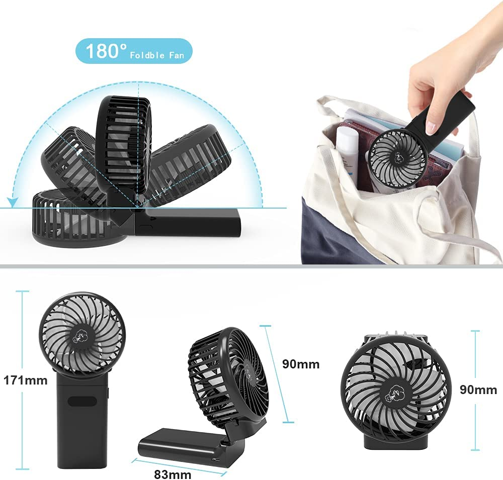 Mini Handheld Fan,Portable Foldable USB Fans with Smart Led Digital Display,Quiet Small Desk Fan with 4 Speed,Personal Rechargeable 4000mAh Battery Operated Fan for Office Outdoor Sport Home Traveling