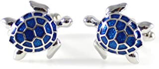 MENDEPOT Novelty Silver Tone with Transparent Blue Enamel Sea Turtle Cufflink Turtoise Cufflink