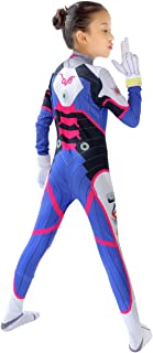 DAZCOS Kids Size Dva Costume Bunny Girl Cosplay Jumpsuit and Gloves