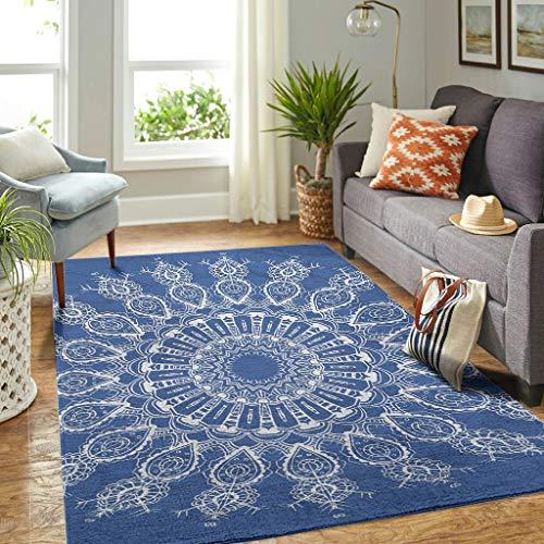 Veryday Alfombra moderna para el salón, diseño de mandala de loto, color azul, 122 x 183 cm