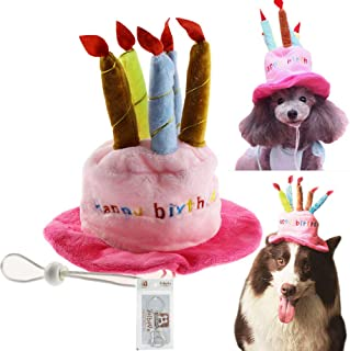 Bolbove Bro'Bear Dog Birthday Hat with Cake & Candles Design Party Costume Accessory Headwear Pink (One Size Fits Most)