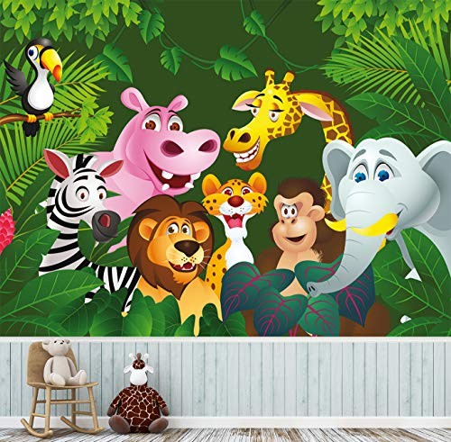 Fototapete selbstklebend | Dschungeltiere II | in 130x100 cm | Kindertapete Tapete Wand-deko Dekoration Kinderbild Kinderzimmer Jungs Mädchen