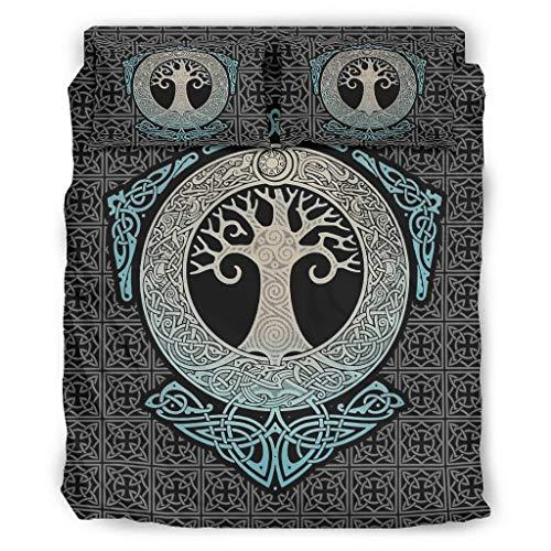 Juego de 4 fundas de almohada y funda de edredón, diseño vikingo con árbol de la vida, color blanco 2 203 x 230 cm