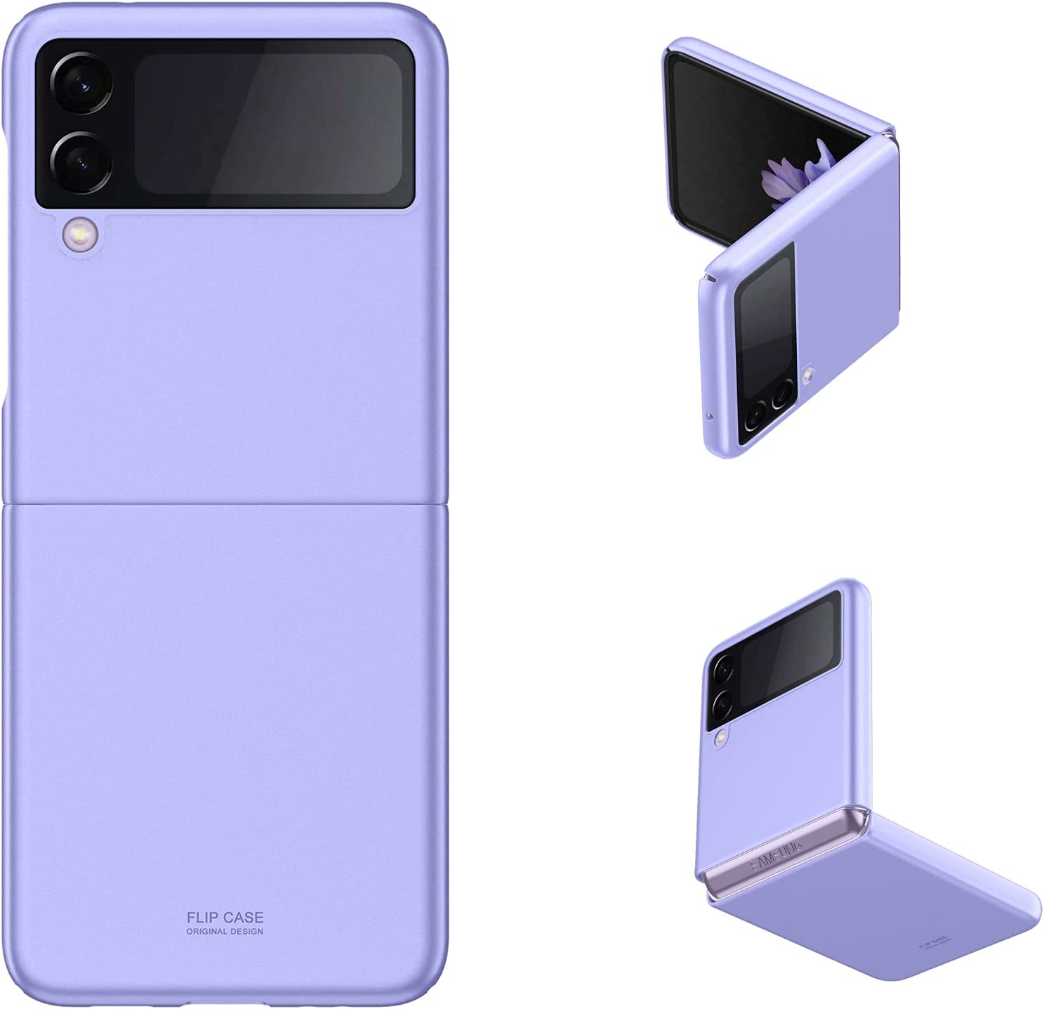 Galaxy Z Flip 3 Case, Back Cover Protector Case Skin Feel Matte PC Cover Compatible with Samsung Galaxy Z Flip 3 5G (Purple)