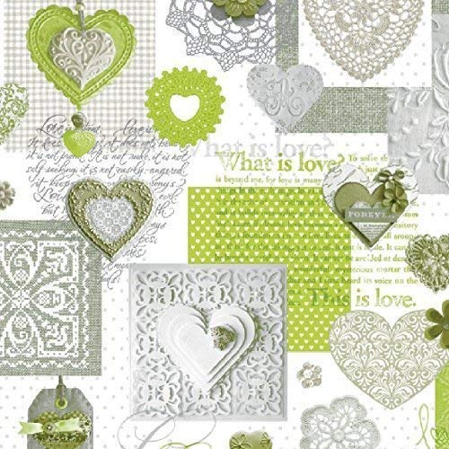 Wachstuch Tischdecke Meterware Love Herzen grün C146063 Größe wählbar in eckig rund oval (140 x 190 cm oval)