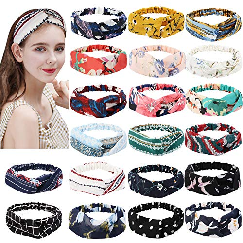 Headbands for Women, Fascigirl 20 PCS Vintage Floral Bandeau Headbands Elastic Hair Bands Criss Cross Hair Wrap Hair Accessories