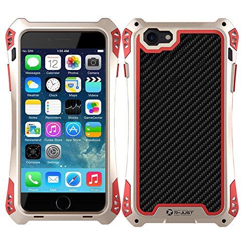 Meiya - Carcasa para iPhone 7 de 4,7 Pulgadas, Resistente al Agua, a Prueba de Golpes, de Aluminio Gorilla Glass Metal Militar, Resistente, Gold+Red, iPhone 7