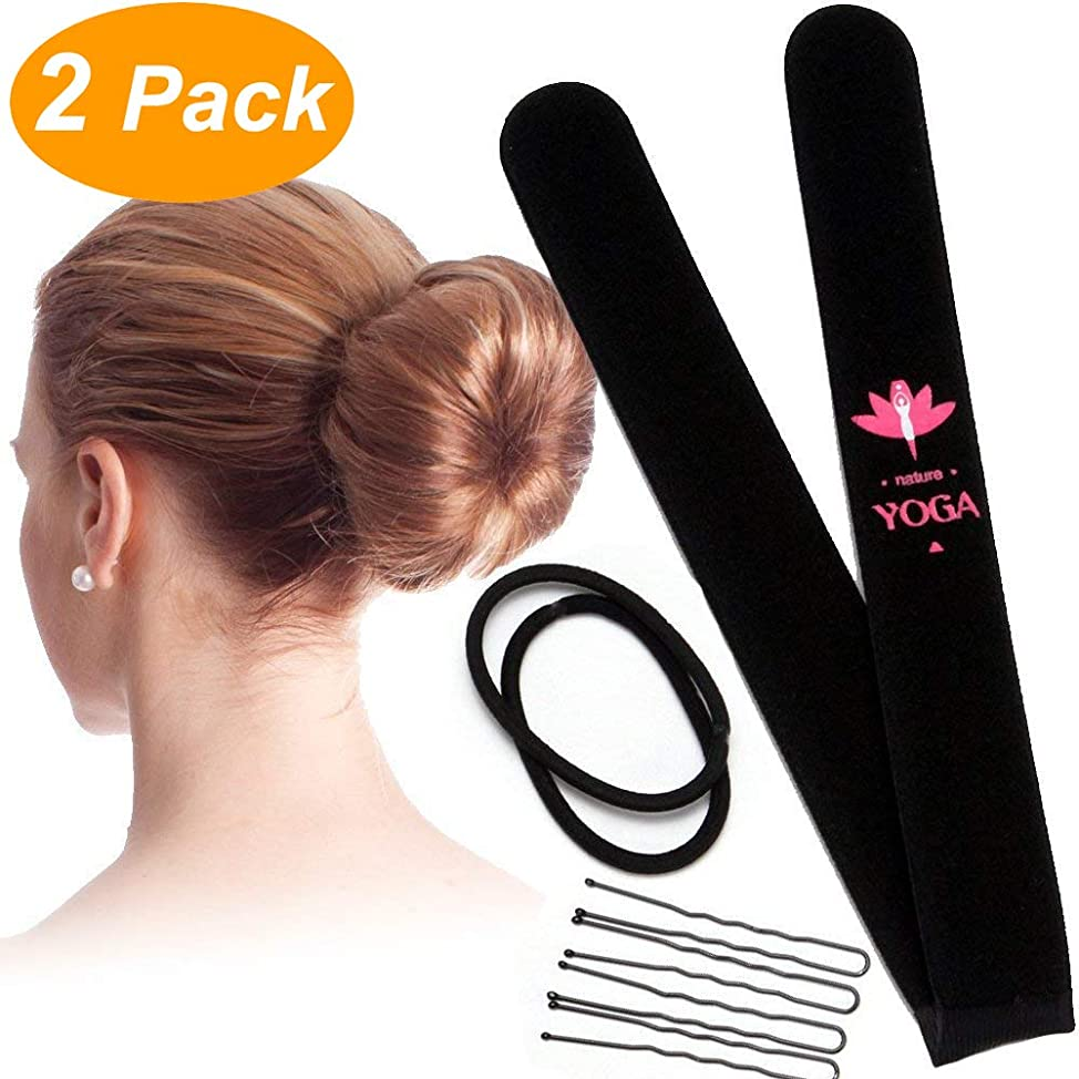 2 Pack Yoga Sponge Donut Making Tool Magic Bun Shaper Hair Bun Making Styling DIY Curler Roller Hairstyle Tools French Twist Doughnuts Girls Send The Rubber Band And The Clip