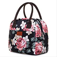 MDZZ Lunch bag Women Floral Large Capacity Lunch Bag Waterproof Portable Cooler Picnic Bags For Food Men Thermal Box Kids Insulated Bag Black