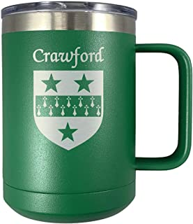 Crawford Irish Coat of Arms Stainless Steel Green Travel Mug with Handle