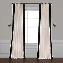 PRCT-VC1716-108 Vertical Colorblock Panama Curtain, Fresh Popcorn & Black, 50 x 108