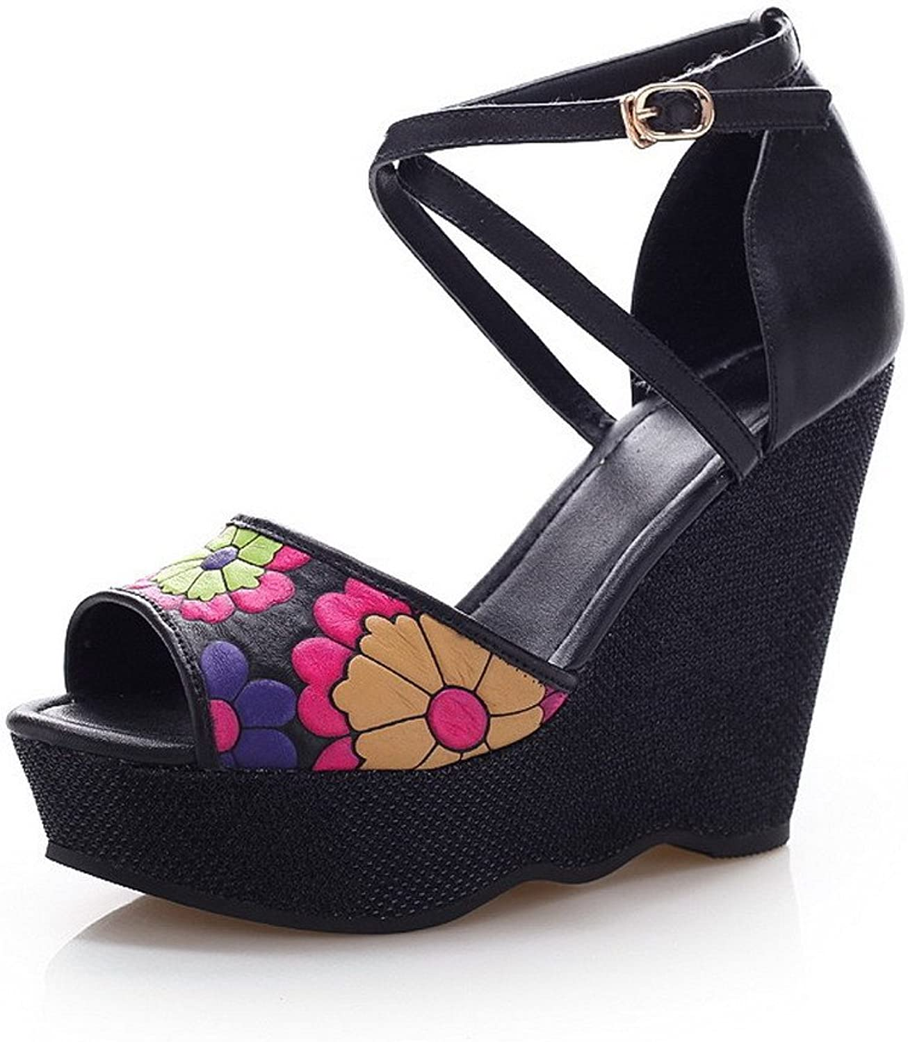WeiPoot Women Open Toe High Heel Wedge Pig Skin Soft Material Assorted colors Sandals, Black, 7.5 B(M) US