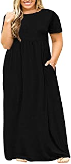 9ba50985498 Womens Plus Size Maxi Dresses Floral Loose Short Sleeve T Shirt Casual  Summer Long Dress with