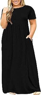Yskkt Womens Plus Size Maxi Dresses Casual Summer Short Sleeve Plain T Shirts Loose Flowy Long Dress with Pockets