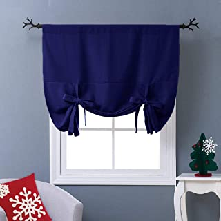 NICETOWN Balloon Shades Blackout Curtain - Adjustable Thermal Insulated Tie Up Curtain Panel Valance (Dark Navy, Rod Pocket Panel, 46 inches W x 63 inches L)