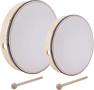 Foraineam 10 Inch & 8 Inch Hand Drum Kids Percussion Wood Frame Drum with Drum Stick
