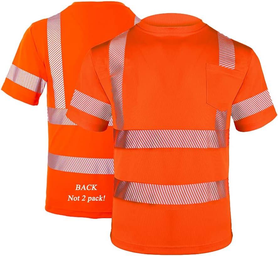 FONIRRA Hi Vis Safety T Shirt with for Clas Pocket Work ANSI San Antonio Elegant Mall Men