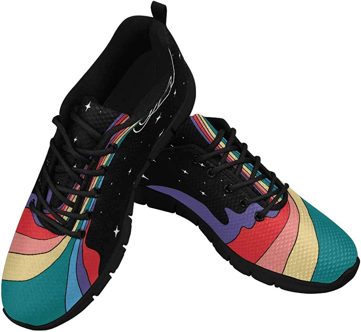 INTERESTPRINT Colorful Can of Paint with Rainbow Lightweight Mesh Breathable Sneakers for Women