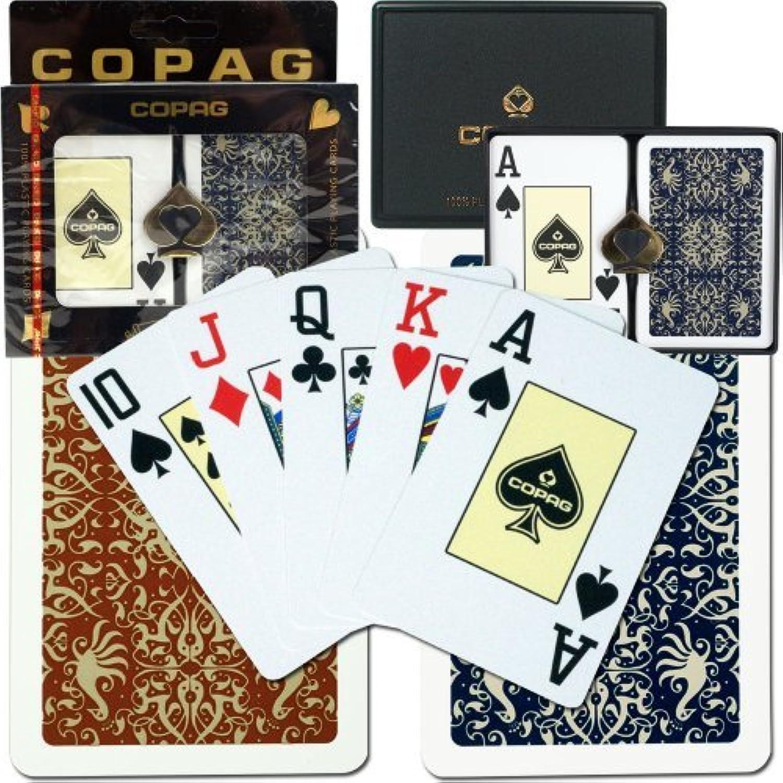 Copag Bridge Size Jumbo Indexgold Line Script Setup Playing Cards (Multi) by Copag