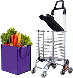 Grocery Laundry Utility Foldable Shopping Cart, Aluminum Alloy 3-Wheel Stair Climbing with Cover (Can sit) Removable Holder 165 pounds Capacity