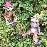 Pixies SAT Down Magical Mystery Hochwertige Garden Decor Figuren Elf & Fairy Kinder Set 2Höhe: 12cm