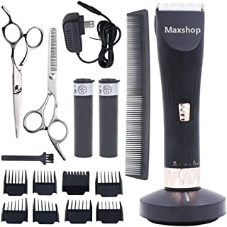 Maxshop Professional Hair Clippers for Men and Babies Quiet Clippers Cordless Haircut kit with Charging Dock, 8 Comb Guides, 2 Scissors,1 Hair Comb Self Hair Cutting System (Black)