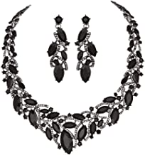 Youfir Women's Elegant Austrian Crystal Necklace and Earrings Jewelry Set for Wedding Dress