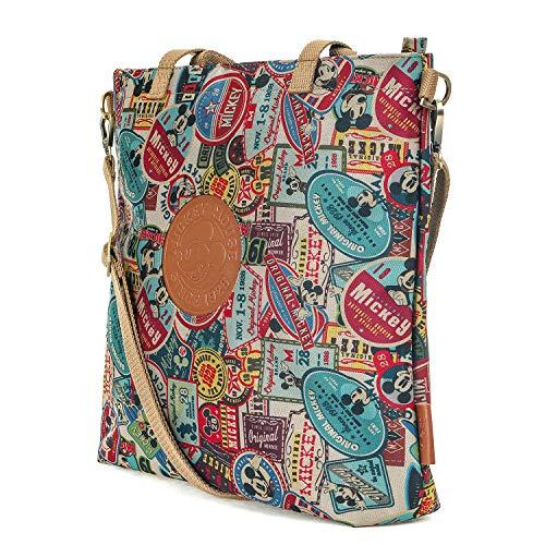 ililily Disney Mickey Maus Flicken Kreuz Körper klassischer Stil Umhängetasche Schulter Tasche, Brown