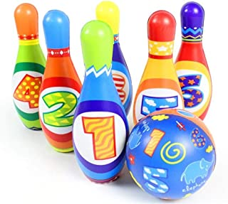 Bowling Action Game Bowling Toy Set Game Colorful Plastic Bowling Ball Pins Party Favors Kit Sport Toddler Educational Toys 7 Pcs Gift For Kids Baby Boys Girls Bowling Toy Set Indoor or Outdoor Games