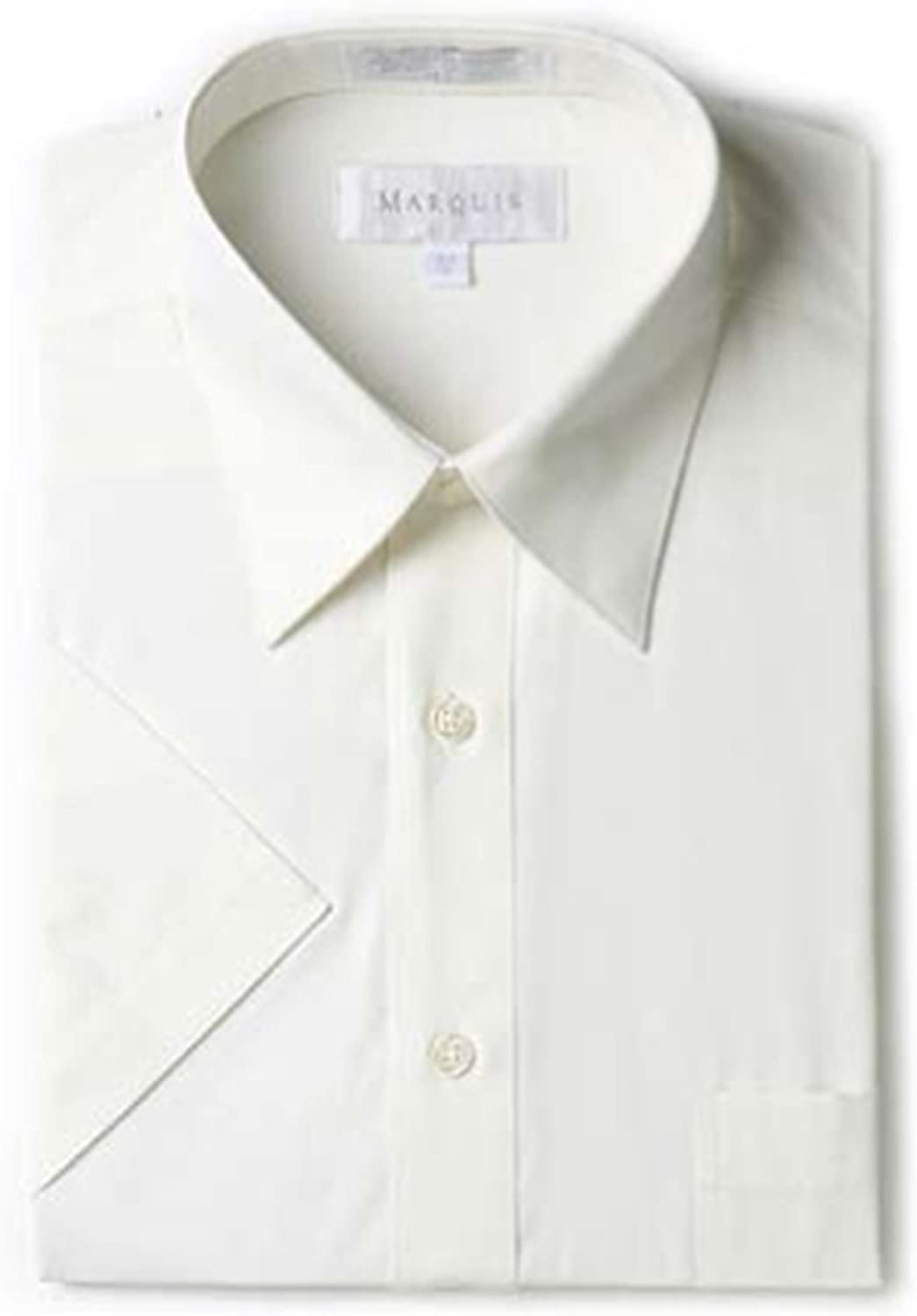 Marquis Men's Solid Color Short Sleeve Small Size Dress Shirt, N 14.5