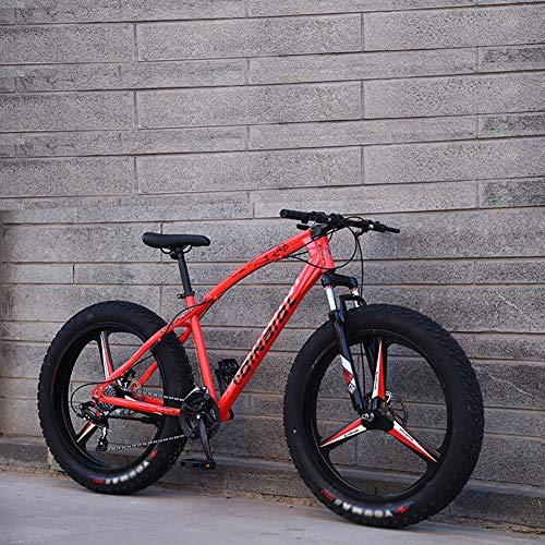"""KKLTDI Dual-scheiben-Bremse Bike Mit Front-aufhängung Verstellbarer Sitz,Erwachsene Jungen Mädchen Fetter Reifen Weg MTB,26 Zoll Mountainbike Pink 3 Spoke 26"""",24-Gang"""