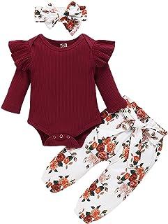 ZOEREA Bébé Fille Ensemble de Vêtements 3 Pièces Mode Manches Longues Barboteuse Combinaison à Volants + Pantalon à Fleurs...