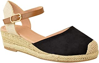 Fashion Thirsty Womens Ladies Low Wedge Heel Summer Sandals Strappy Espadrilles Shoes Size New by Heelberry®