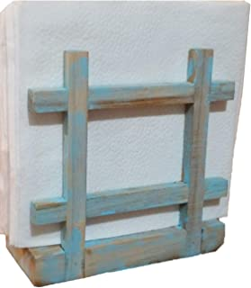 Rustic Barnwood Country   Beach   Nautical thyme Cross Corner Style Napkin Holder, Table Top Paper Towel Dispenser in Vintage Weathered Blue/Turquoise Finish