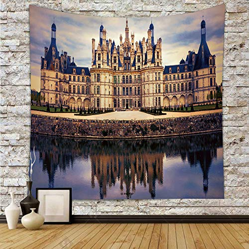 C COABALLA Wall Hanging Bedding Tapestry, Chambord Castle Dorm Decor for Living Room Bedroom 59x59 Inches No04132