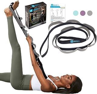تسمه یوگا چند حلقه ای AZURELIFE ، تسمه سبک و عملی کشش برای Rehab ، یوگا ، Pilates ، رقص ، فیزیوتراپی و ژیمناستیک با راهنمای دستورالعمل