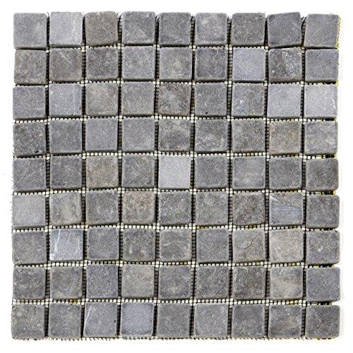 Divero 11 Fliesenmatten Naturstein Mosaikfliesen aus Marmor für Wand und Boden grau á 29 x 29 cm