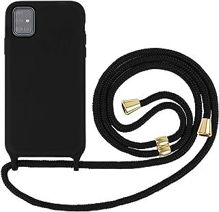 Suhctup Compatible con Samsung Galaxy S20 Funda con Cuerda Carcasa de Silicona líquida con Correa Colgante Ajustable Collar Anti-Choque Anti-rasguños Ultrafina Suave TPU Caso-Negro