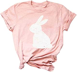 Easter Shirt Womens Funny Bunny T Shirt Rabbit Graphic Tee Casual Short Sleeve O-Neck Christian Inspirational Tops