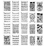 Meetory Stencil con lettere e numeri, formato A5, per album di ritagli, disegno e scrittura manuali, confezione da 20