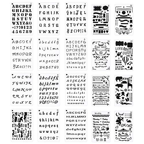 Meetory Plantilla para diario de letras y números, 20 unidades, para álbumes de recortes, pintura, dibujo y manualidades