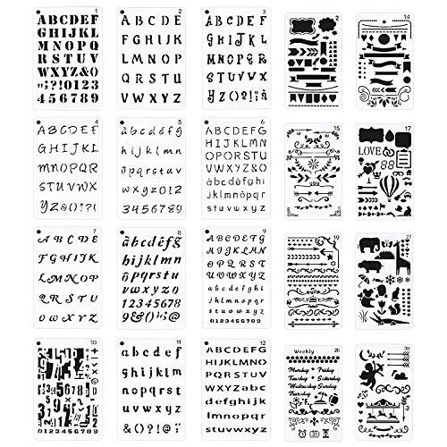 Meetory 20 Stück Buchstaben und Zahlen Tagebuch Schablone für A5 Bullet Journal Supplies Scrapbooking Malerei Zeichnen Craft