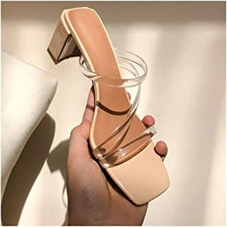 "Slide Sandals For Women Chunky Mules 6cm/2.36"" Heel Transparent PVC Bands Genuine Leather Slip In Square Toe Rubber Soft Sole Mid Heel Slipper Fashion Personality Shoes Attractive"