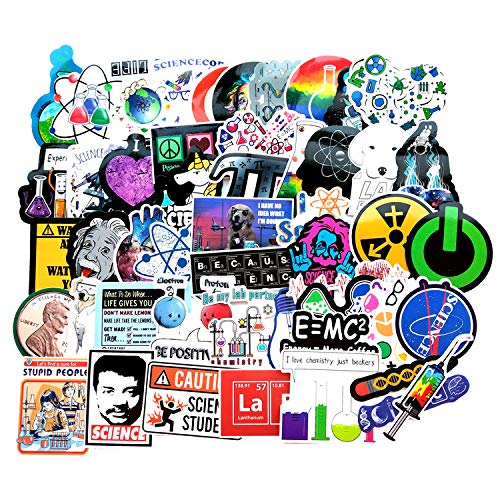 Vinyl Student Science Experiments Stickers Pack 51 Pcs Physics Chemistry Biology Stickers Science Decals for Laptop Ipad Car Luggage Water Bottle Helmet Truck