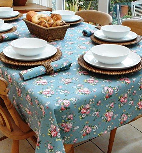 THE TABLECLOTH COMPANY 140 x 210 cm Rectangle Vintage Bleu avec Fleur Rose Nappe en Coton * Cath Kidston Style * – 6 Places