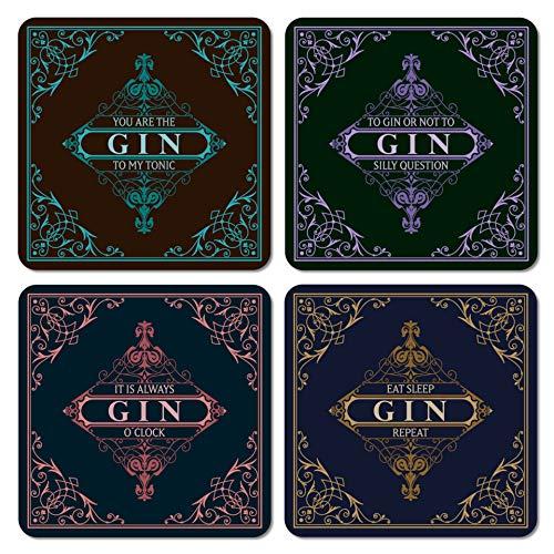 Interluxe LED Untersetzer 4er Set mit GRATIS BATTERIEN - Black Gin - Vier leuchtende Untersetzer für Gläser als Deko für Party und Bar