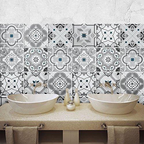 Paquete de 24 pegatinas de PVC para decoración de azulejos, de vinilo para baño y cocina, 10 x 10 cm, fabricadas en Italia, PS00095