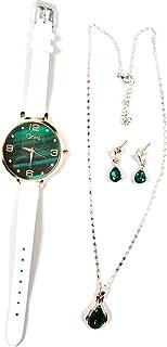 4pcs Women's Watch Necklace Earrings Gift Set Fashion Women's Watch Box Jewelry Gift Set for Women Girls